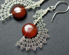 Spiral Earrings with Carnelian