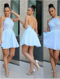Halter Homecoming Dress,Lace Prom Dress,Backless Prom Dress,Fashion Prom