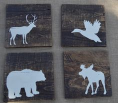 Rustic Reclaimed Wood - Woodland Animals - Set of 4 - Rustic Nursery Decor - Planked - Grizzly bear, moose, duck, deer - 8x8