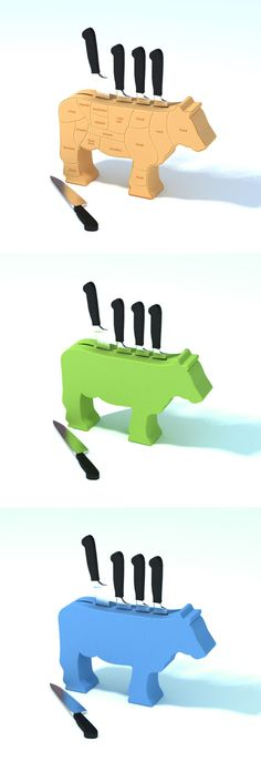 Stab the Cow – Knife Block I want this in red! Cnc, So Creative, Cooking Gadgets, Wooden Gifts, Knife Block, Kitchen Knives, Things To Buy, Farmhouse Decor, Diy And Crafts