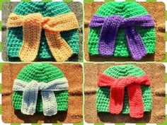 As a child one of my favourite shows at the time was Teenage Mutant Ninja Turtles.now years later and a few crappy remakes later, they . Crochet Kids Hats, Crochet Cap, Crochet Beanie, Crochet Crafts, Free Crochet, Knitted Hats, Mutant Ninja, Teenage Mutant, Yarn Projects