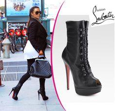 3980ef42691 Kim Kardashian in Christian Louboutin boots - Alta Bouton platform peep toe  ankle boots