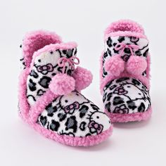 Hello Kitty Leopard Pom-Pom Bootie Slippers - Girls ($16) ❤ liked on Polyvore