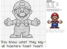 Mario Cross Stitch Pattern - for Todd Melty Bead Patterns, Beading Patterns, Cross Stitch Charts, Cross Stitch Patterns, Super Mario, Cross Stitching, Cross Stitch Embroidery, Stitch Games, Granny Square Projects