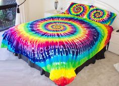 RAINBOW TIE DYE QUEEN QUILT COVER SET over 500TC LUX tye dyed hippie doona duvet
