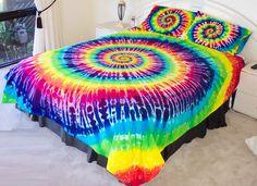RAINBOW TIE DYE QUEEN QUILT COVER SET over 500TC LUX tye dyed hippie doona duvet