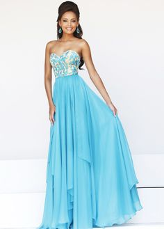 Turquoise Chiffon Embroidered Sweetheart Long Prom Dress