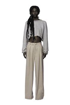 """* Size 4.     * Cashmere wide legged trouser.     * Welt pocket at back.     * Model is 5'9""""."""