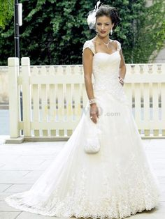 [US$261.99] White A-line Sweetheart Cap Sleeves Applique Lace Wedding Dress