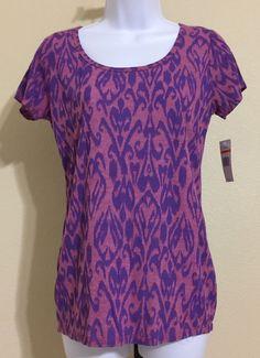 Nine West Vintage America Women's Purple & Blue Short Sleeve Blouse Size S NWT #NineWest #Blouse #Casual