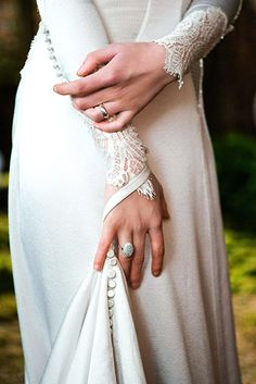 These sleeves are so elegant and delicate! And the covered buttons add to the simple beauty of the dress and match the back so well!
