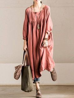 Shop Linen Dresses - Long Sleeve Shift Square Neck Casual Linen Dress online. Discover unique designers fashion at StyleWe.com.