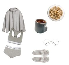 """morning routine 2"" by molawho on Polyvore featuring moda, Novelty, H&M i Calvin Klein Underwear"