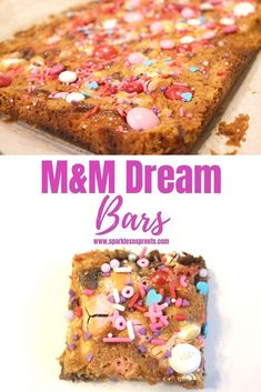 M&M Dream Bars are the perfect decadent sweet treat that everyone will LOVE.  They are loaded with tons of M&M's and other yummies that will make these a favorite for any season, holiday or occasion.   . Check out the post for options to make them even better! . #bars #M&M #dreambars #Valentines #ValentinesDay #dessert #sparklesnsprouts