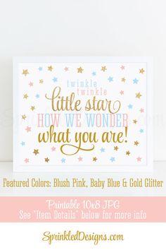 Twinkle Twinkle Little Star How We Wonder What You Are - Printable Twinkle Little Star Gender Reveal Sign, Gold Glitter Blush Pink Baby Blue - Sprinkleddesigns.com