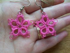 tatted azalea flower earrings azalea flowers tatted by MamaTats
