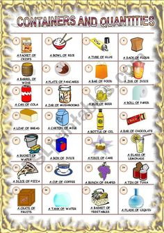 learn about containers and quantities of food and drink. EDITABLE. CORRECTED