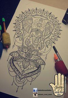 Beautiful hand arm tattoo ideas by dzeraldas jerry kudrevicius from Atlantic Coast tattoo.  Mandala lotus rose lace dotwork ornamental drawing tattoo idea design.  Pretty tattoo idea.  Elephant tattoo ideas drawing