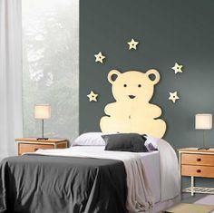 Herlig sengegavl, bamsegavl :-)  Metall figur til vegg, Modell OSITO med 5 stjerner