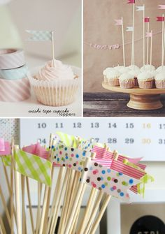 If I change my mind about the heart punch/question mark cupcake toppers, I can to pink and blue washi tape