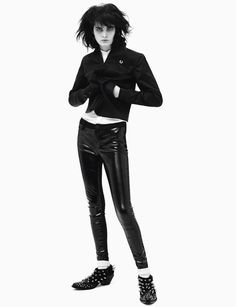 Zlata Mangafic, 21, wears jacket Fred Perry, shirt Jil Sander, trousers model's own, socks Falke, shoes, Junya Watanabe.