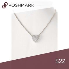 """💋CZ Pave Heart Necklace Silver tone necklace with a pave heart charm.  The simple classic style of this accessory makes it a nice choice to wear everyday.  Also the perfect gift idea.  🚫 No trades, thanks.   Silver Tone 