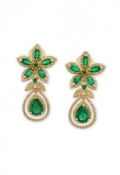 Emerald and diamond earrings set in 14K yellow gold at EFFY
