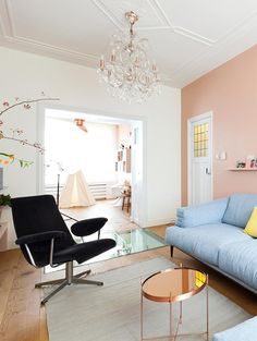 dream home | living room | pink wall + pastel furniture + decor accents