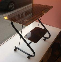 60-luvun alun 'lyyrajalkainen' tarjoilupöytä, kork. 72, lev. 75, syv. 40cm