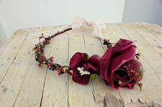 SALE BURGUNDY Flower Headpiece Enchanted Forest by ManniaTitta, $9.90
