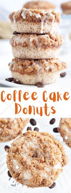 These vegan coffee cake donuts are super moist with a simple crumb topping and dairy free glaze, as well as lots of sweet cinnamon flavor! #vegandonuts #vegandesserts #coffeecakedonuts Vegan Donut Recipe, Vegan Doughnuts, Baked Donuts, Donut Recipes, Baking Recipes, Cake Recipes, Baking Tips, Kitchen Recipes, Healthy Vegan Desserts