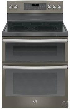 "GE JB860EJES 30 Inch Freestanding Double Oven Electric Range with 5 Smoothtop Elements, 6.6 cu. ft. Total Oven Capacity, 9""/6 Inch 3100W Power Boil Element, 12""/9 Inch 3000W Variable Element and Self-Cleaning Mode: Slate"