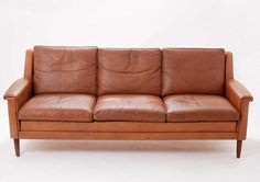 Skandi - Danish cognac coloured leather couch