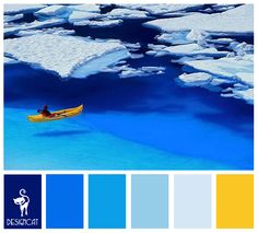 Yellow Kayak: Royal, Blue, Tiffany, Pastel, Ice, Yellow - Colour Inspiration pallet