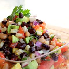 From another pinner: Cowboy salsa- Very good! Served with corn chips. I used the Olive Garden brand dressing and added lots of lime juice (because I'm a limeoholic). Love this recipe!
