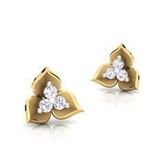 three leaf earring Earrings With Price, Diamond Earrings For Women, Small Earrings, Diamond Jewelry, Gold Jewelry, Gold Jhumka Earrings, Leaf Earrings, Fancy Jewellery, Gold Jewellery Design