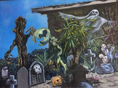 THIS IS HALLOWEEN 12 x 14 Oil on board My daughter has created an awesome Halloween Set for her front yard. I painted our late pigeon's portrait on a headstone.