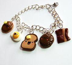 Kawaii Miniature Food Polymer Clay Charm Bracelet ..toast with butter cute..picture for idea...