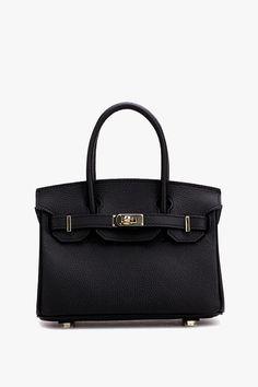 Black Locked Up Mini Leather Tote Handbag