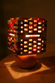 Crescent and lavender LEGO lamp