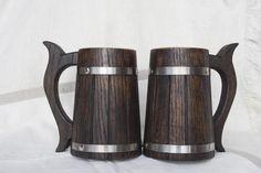 Set of 2 Wooden Beer Mugs 0.7 L 23 oz Beer Tankard