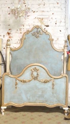 Shop for Etsy French Bed Painted Cottage Shabby Chic Marie Antoinette Romantic Twin / Full / Doulble Bed at ShopStyle. Shabby Chic Bedrooms, Shabby Chic Homes, Shabby Chic Decor, Shabby Chic Wall Unit, Romantic Bedrooms, Painted Beds, Painted Furniture, Painted Headboard, French Furniture