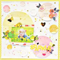 """LO """"Sparkle"""" created with May 2016 @creativeretreat Kit. I also used giant sequins from @silhouette.inc store @pebblesinc #layout #scrapbooking #scrapbook #annakomenda #moriony #skrapowisko #sparkle #sequins #silhouettecameo #cutfile #pebbles #pinkandyellow #spring #heidiswapp #colorshinrmists"""