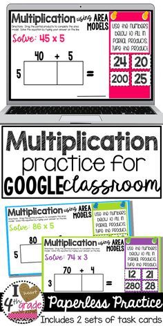 Classroom Multiplication Using Area Models Multiplication grade 4th Grade Multiplication, Fifth Grade Math, Fourth Grade, Multiplication Strategies, Math Fractions, Grade 3, Google Classroom, Classroom Ideas, Google Math