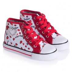 MOSCHINO  GIRLS WHITE CANVAS TRAINERS WITH LADYBUGS & HEART