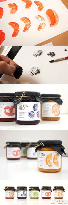 Using the fruits as a way to show what kind of jam is a great way to have a rustic feel to the packaging. This is a creative way to use the products within the packaging. Label Design, Branding Design, Food Design, Web Design, Fruit Logo, Brand Packaging, Fruit Packaging, Design Packaging, Packaging Ideas