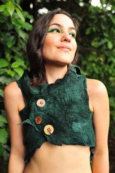 Felt Rainforest Leaf Pixie Woodland Nymph Bolero Vest OOAK.  via Etsy.