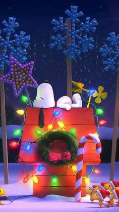 Snoopy Xmas Dog House Wallpaper