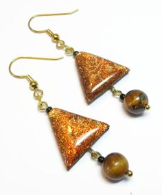 Tigers Eye Triangle Dangle Earrings jewelry by BeadazzleMe on Etsy, $14.00