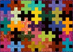 Make a Colorful Jigsaw Puzzle Quilt with This Free and Easy Pattern